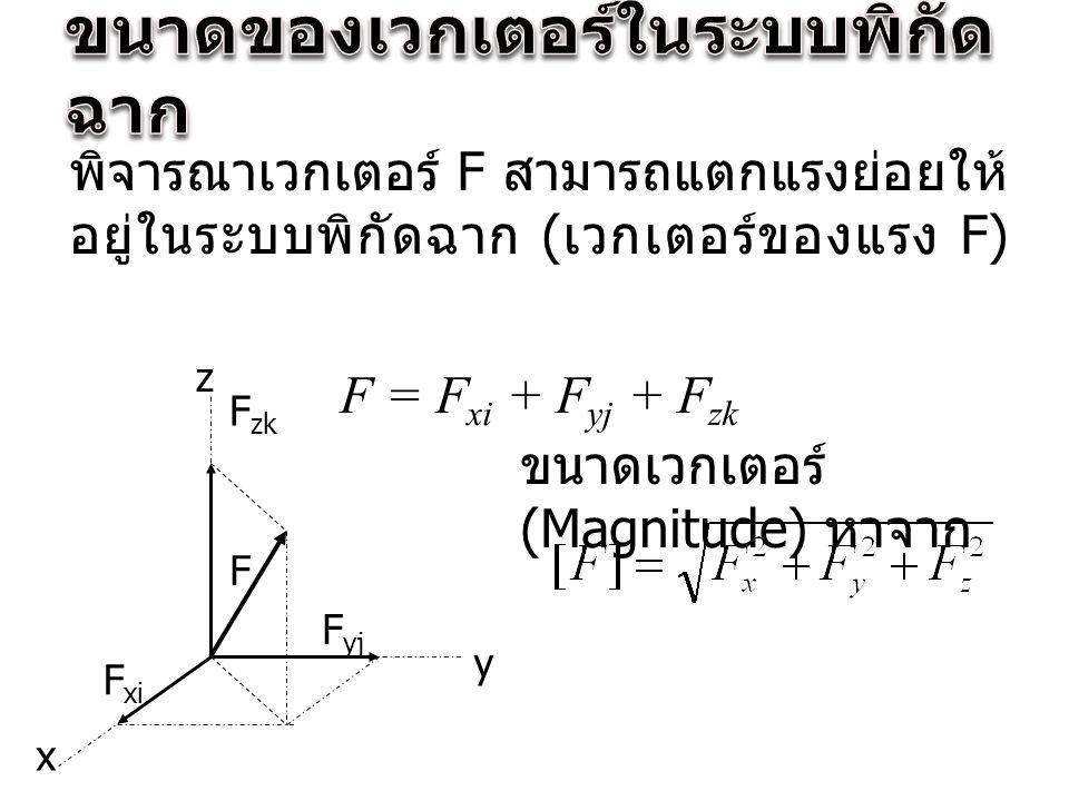 พิจารณาเวกเตอร์ F สามารถแตกแรงย่อยให้ อยู่ในระบบพิกัดฉาก ( เวกเตอร์ของแรง F) F = F xi + F yj + F zk z x y F xi F yj F zk ขนาดเวกเตอร์ (Magnitude) หาจาก F