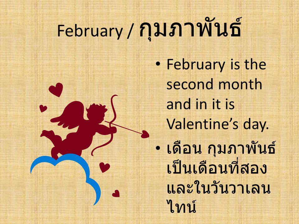 February / กุมภาพันธ์ February is the second month and in it is Valentine's day. เดือน กุมภาพันธ์ เป็นเดือนที่สอง และในวันวาเลน ไทน์