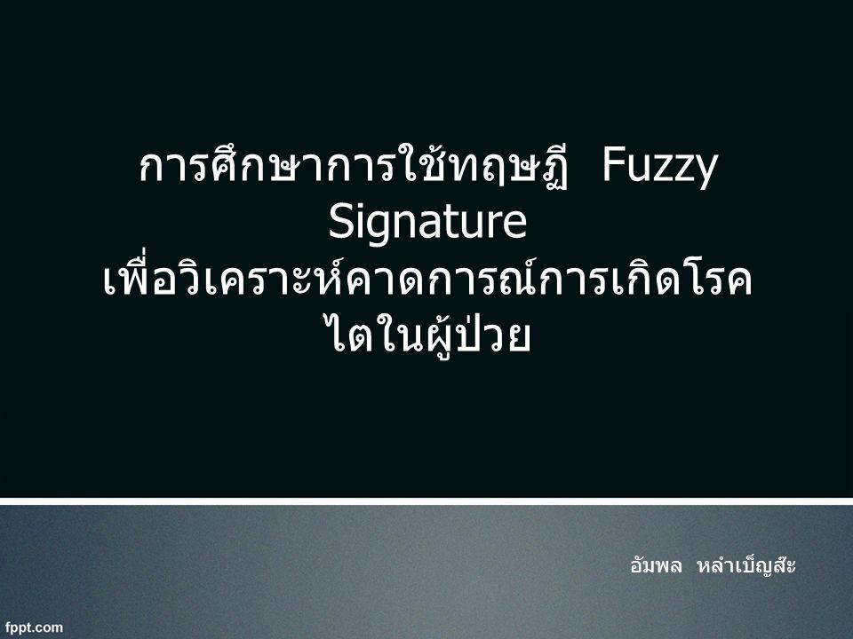 อัมพล หลำเบ็ญส๊ะ การศึกษาการใช้ทฤษฏี Fuzzy Signature เพื่อวิเคราะห์คาดการณ์การเกิดโรค ไตในผู้ป่วย