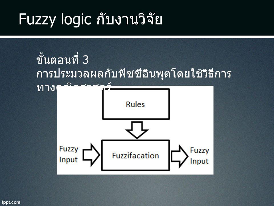 Fuzzy logic กับงานวิจัย ขั้นตอนที่ 3 การประมวลผลกับฟัซซีอินพุตโดยใช้วิธีการ ทางคณิตศาสตร์