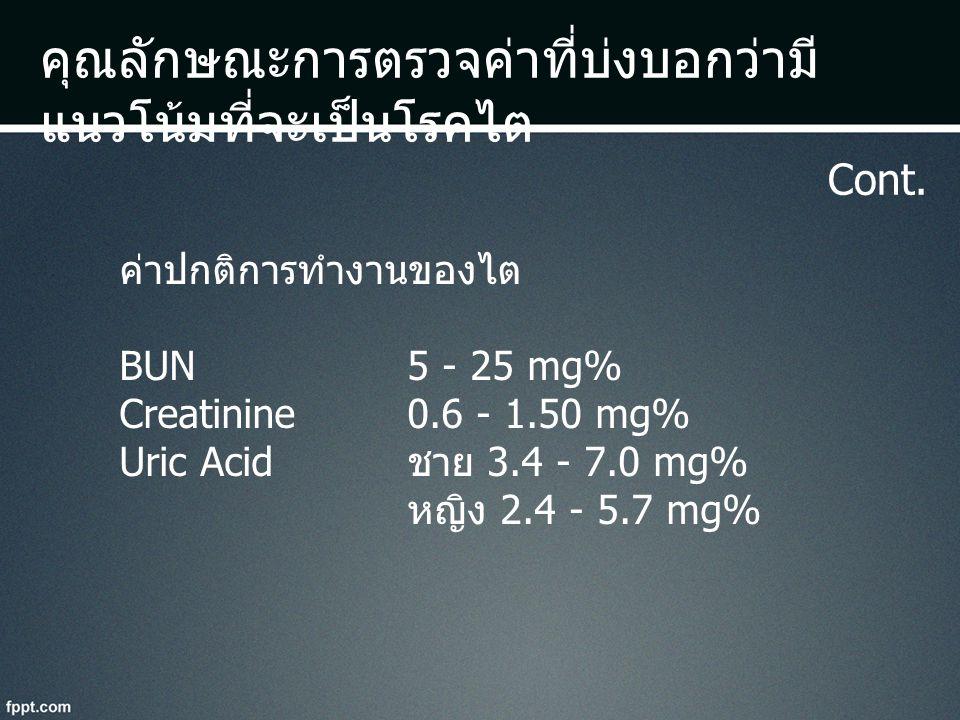 คุณลักษณะการตรวจค่าที่บ่งบอกว่ามี แนวโน้มที่จะเป็นโรคไต Cont. ค่าปกติการทำงานของไต BUN 5 - 25 mg% Creatinine 0.6 - 1.50 mg% Uric Acid ชาย 3.4 - 7.0 mg