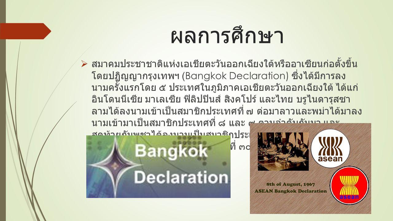 ผลการศึกษา  สมาคมประชาชาติแห่งเอเชียตะวันออกเฉียงใต้หรืออาเซียนก่อตั้งขึ้น โดยปฏิญญากรุงเทพฯ (Bangkok Declaration) ซึ่งได้มีการลง นามครั้งแรกโดย ๕ ประเทศในภูมิภาคเอเชียตะวันออกเฉียงใต้ ได้แก่ อินโดนนีเซีย มาเลเซีย ฟิลิปปินส์ สิงคโปร์ และไทย บรูไนดารุสซา ลามได้ลงนามเข้าเป็นสมาชิกประเทศที่ ๗ ต่อมาลาวและพม่าได้มาลง นามเข้ามาเป็นสมาชิกประเทศที่ ๘ และ ๙ ตามลำดับกันมา และ สุดท้ายกัมพูชาได้ลงนามเป็นสมาชิกประเทศที่ ๑๐ ประชาคมอาเซียน ได้มีสมาชิกครบ ๑๐ ประเทศเมื่อวันที่ ๓๐ เมษายน พ.