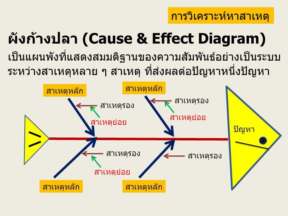 ผังก้างปลา (Cause & Effect Diagram) เป็นแผนพังที่แสดงสมมติฐานของความสัมพันธ์อย่างเป็นระบบ ระหว่างสาเหตุหลาย ๆ สาเหตุ ที่ส่งผลต่อปัญหาหนึ่งปัญหา สาเหตุ