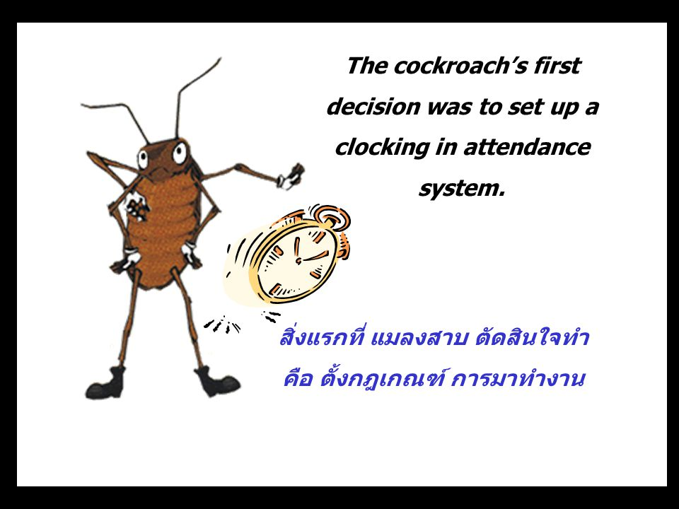 The cockroach's first decision was to set up a clocking in attendance system.