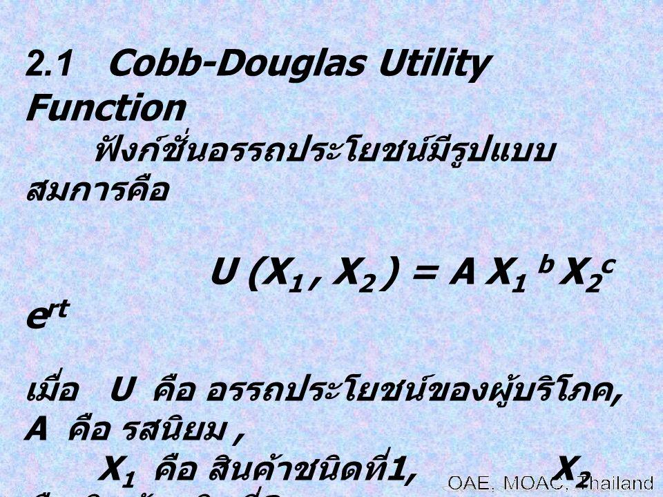 2.1 Cobb-Douglas Utility Function ฟังก์ชั่นอรรถประโยชน์มีรูปแบบ สมการคือ U (X 1, X 2 ) = A X 1 b X 2 c e rt เมื่อ U คือ อรรถประโยชน์ของผู้บริโภค, A คื