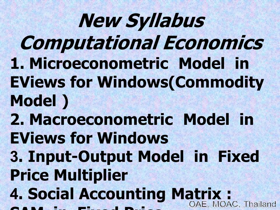 Microeconometric Modeling and Forecast using EViews Software Module lecture : BHUMISAK RASRI Aims: The last decade or so has seen a dramatic increasing in the use of micro-level data in the econometric analysis of economic behaviour and a parallel growth in the development of estimation and testing techniques appropriate for micro data.