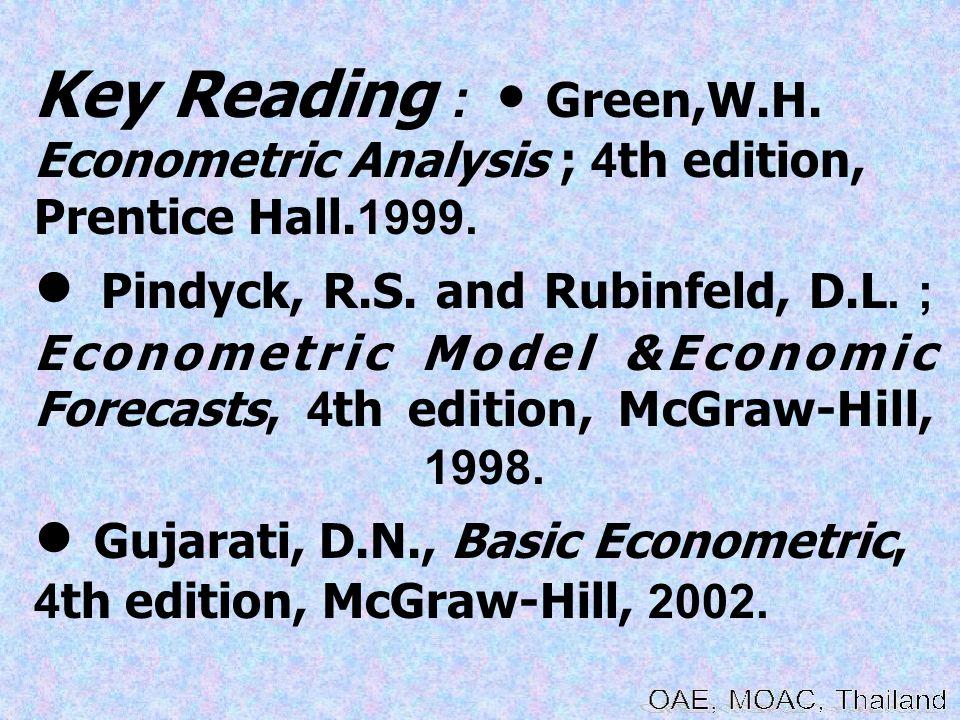 Key Reading : Green,W.H.Econometric Analysis ; 4th edition, Prentice Hall.1999.