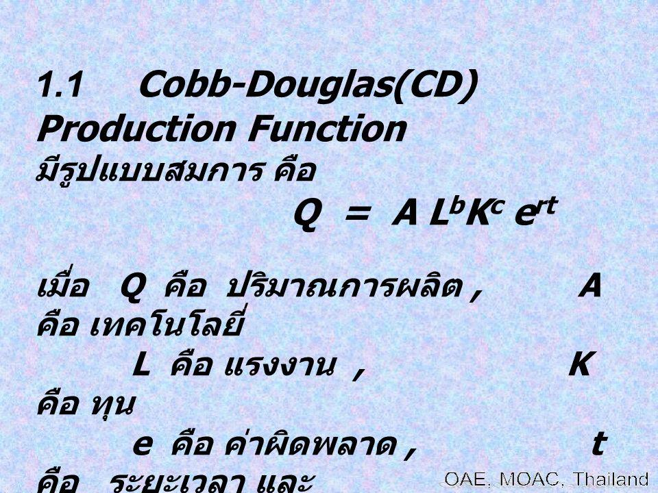 1.1 Cobb-Douglas(CD) Production Function มีรูปแบบสมการ คือ Q = A L b K c e rt เมื่อ Q คือ ปริมาณการผลิต, A คือ เทคโนโลยี่ L คือ แรงงาน, K คือ ทุน e คื