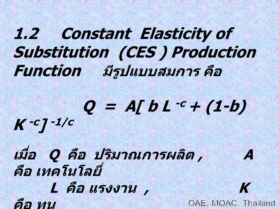 1.2 Constant Elasticity of Substitution (CES ) Production Function มีรูปแบบสมการ คือ Q = A[ b L -c + (1-b) K -c ] -1/c เมื่อ Q คือ ปริมาณการผลิต, A คื