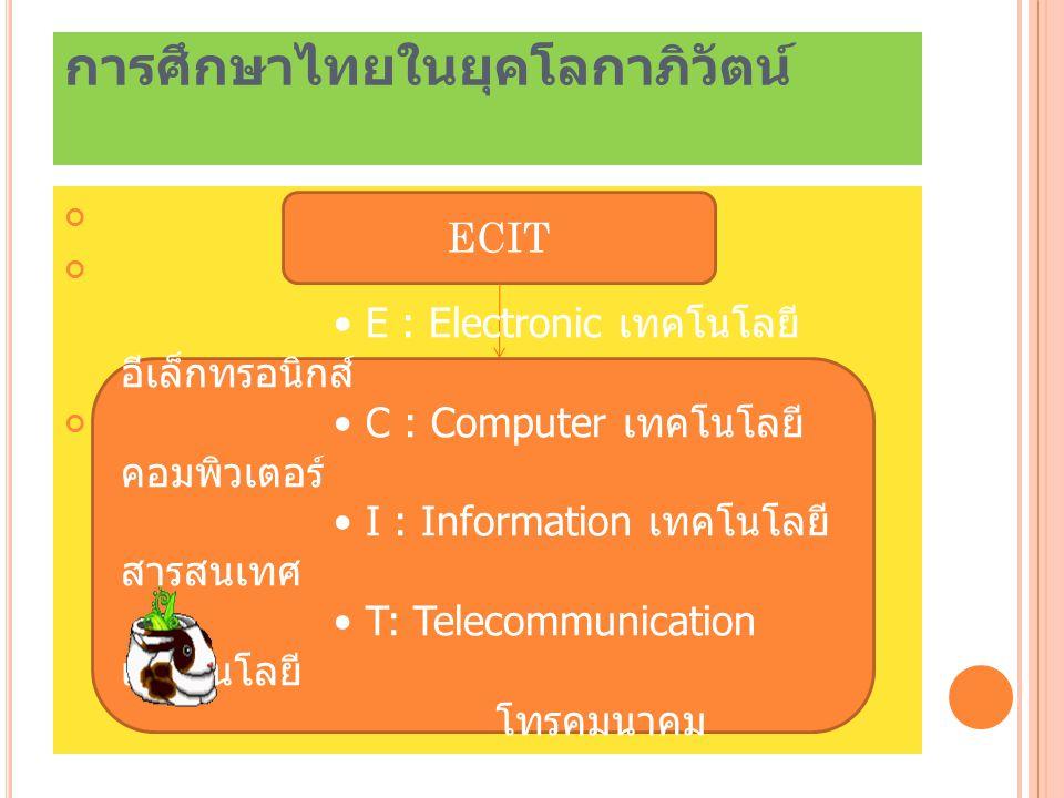 การศึกษาไทยในยุคโลกาภิวัตน์ ECIT E : Electronic เทคโนโลยี อีเล็กทรอนิกส์ C : Computer เทคโนโลยี คอมพิวเตอร์ I : Information เทคโนโลยี สารสนเทศ T: Tele