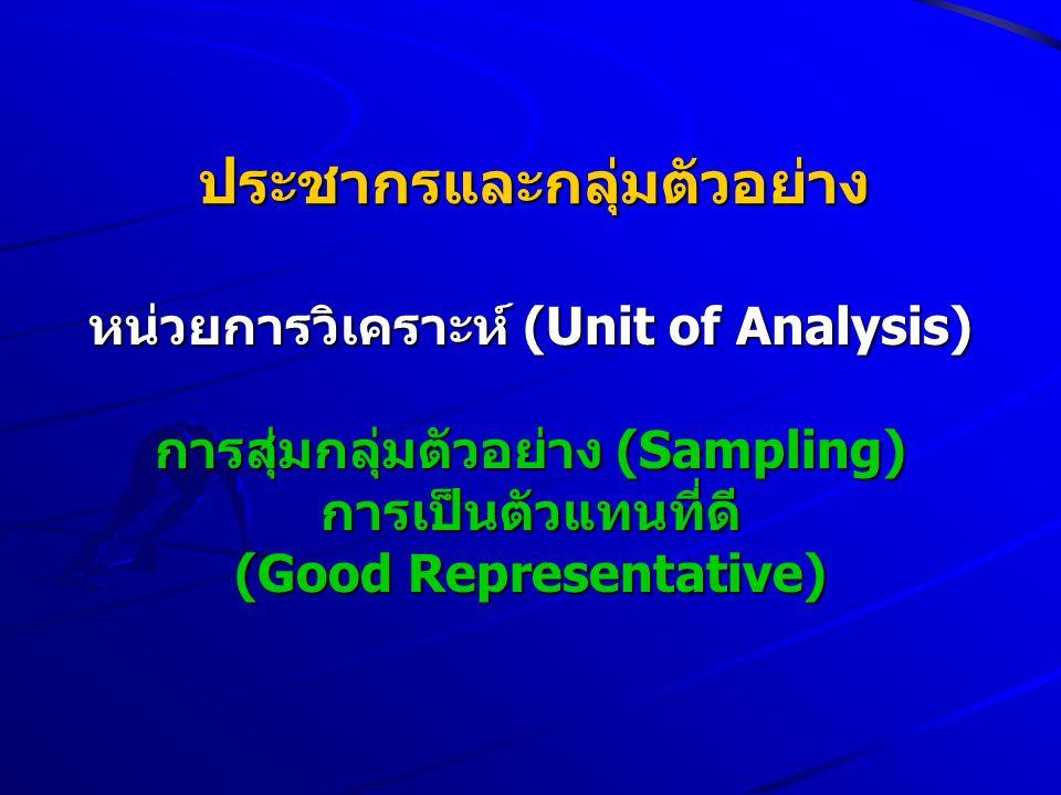 ประชากรและกลุ่มตัวอย่าง หน่วยการวิเคราะห์ (Unit of Analysis) การสุ่มกลุ่มตัวอย่าง (Sampling) การเป็นตัวแทนที่ดี (Good Representative)