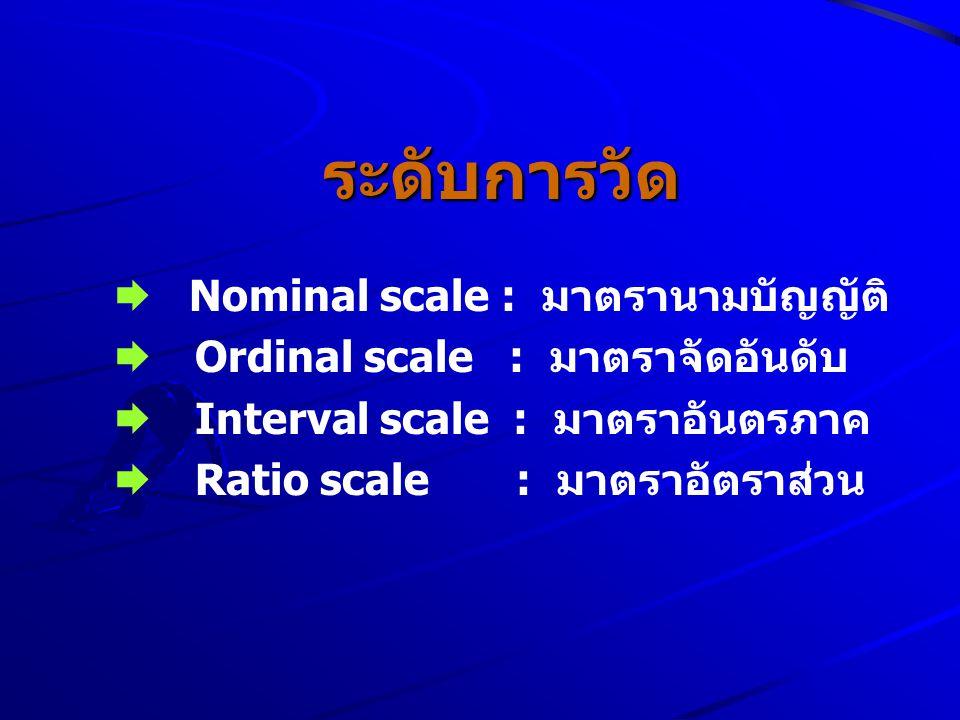 ระดับการวัด ระดับการวัด  Nominal scale : มาตรานามบัญญัติ  Ordinal scale : มาตราจัดอันดับ  Interval scale : มาตราอันตรภาค  Ratio scale : มาตราอัตรา