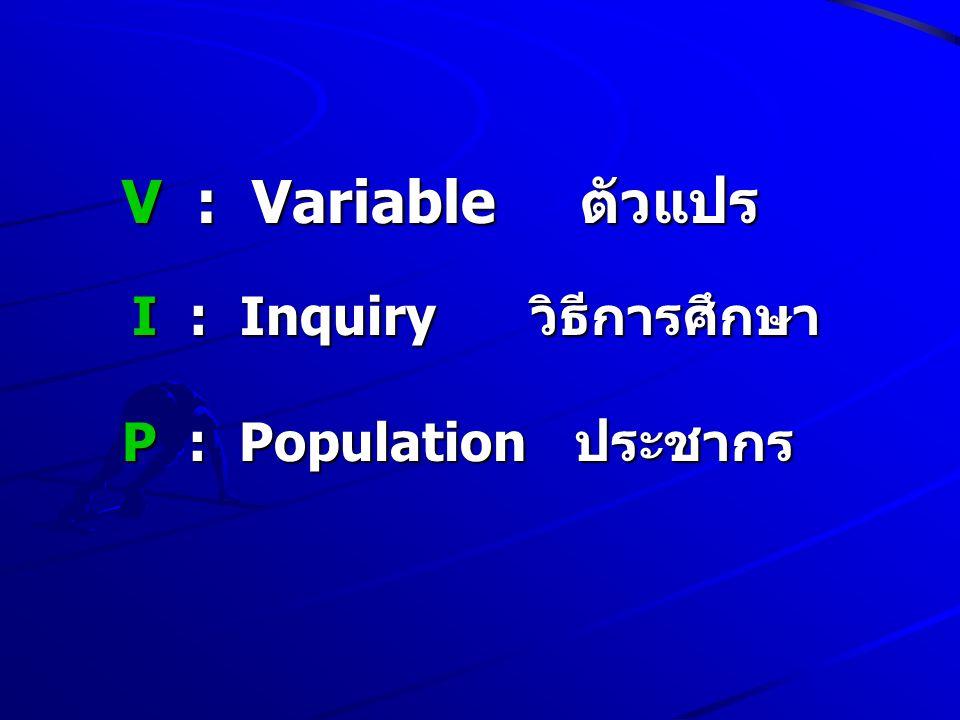 V : Variable ตัวแปร I : Inquiry วิธีการศึกษา P : Population ประชากร