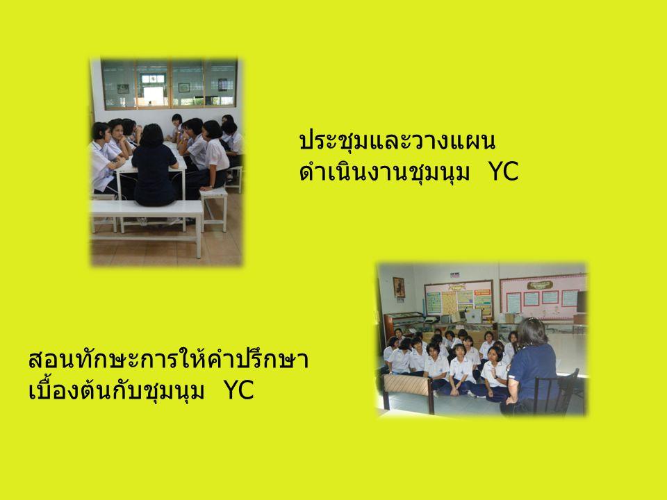 ประชุมและวางแผน ดำเนินงานชุมนุม YC สอนทักษะการให้คำปรึกษา เบื้องต้นกับชุมนุม YC