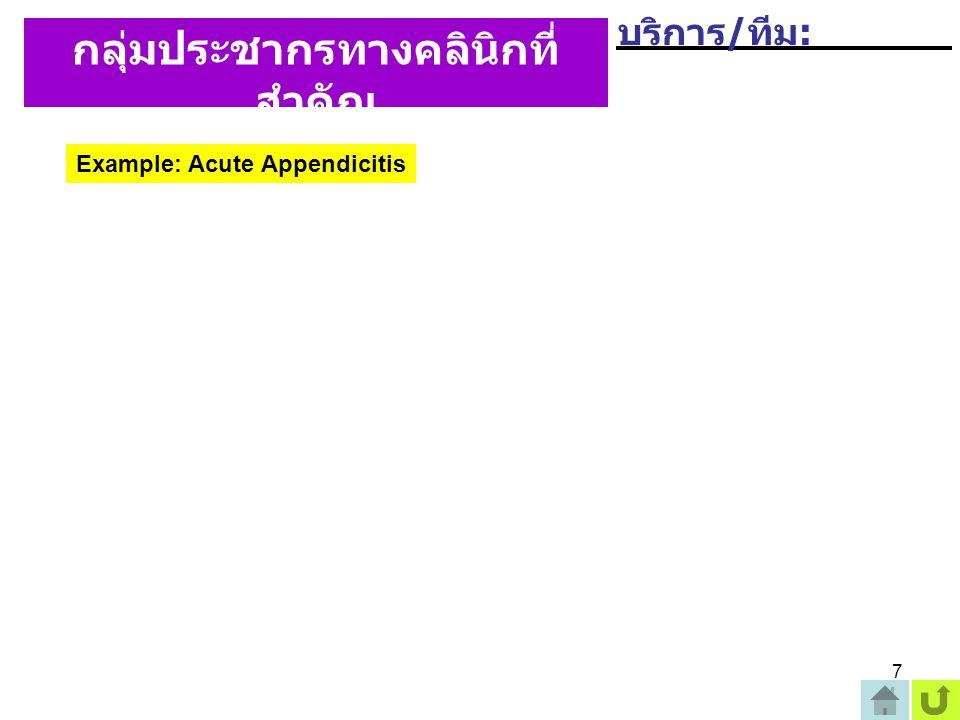 7 กลุ่มประชากรทางคลินิกที่ สำคัญ (Key Clinical Population) Example: Acute Appendicitis บริการ / ทีม :