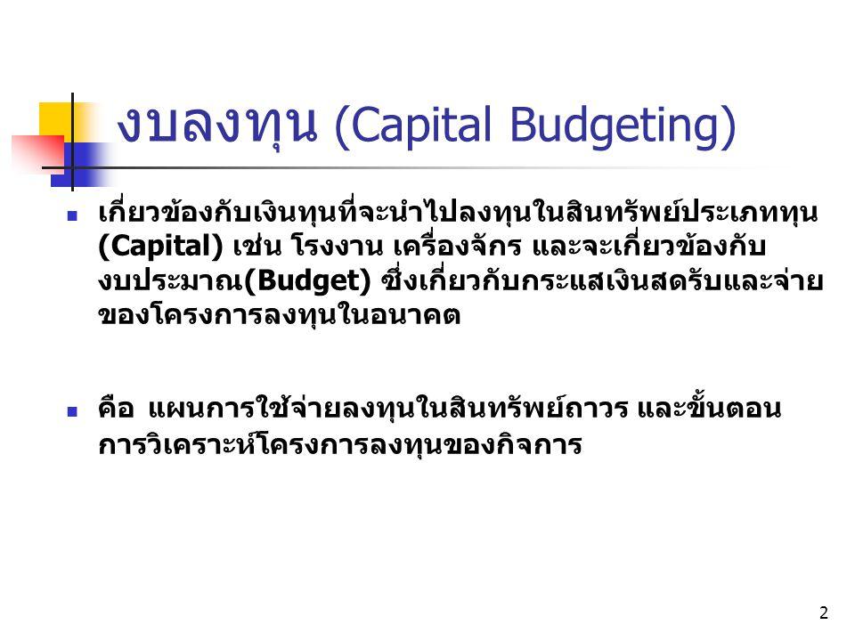 3 งบลงทุน (Capital Budgeting) E.g.