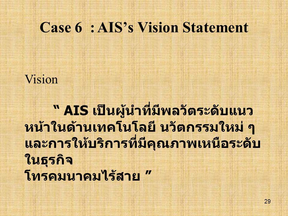 28 Case 5 : วิสัยทัศน์และพันธกิจของ การไฟฟ้าฝ่ายผลิต Vision : เป็นองค์กรชั้นนำในภูมิภาค อาเซียน Mission : ผลิตและจำหน่ายไฟฟ้าอย่างมี ประสิทธิภาพ และคำ