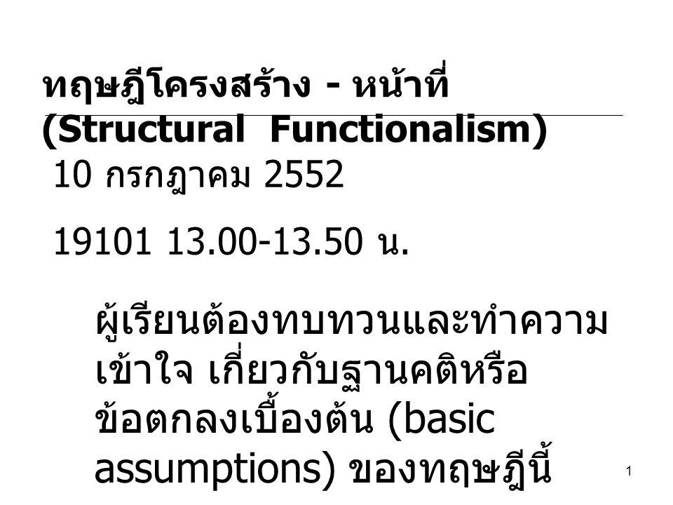 1 ทฤษฎีโครงสร้าง - หน้าที่ (Structural Functionalism) 10 กรกฎาคม 2552 19101 13.00-13.50 น. ผู้เรียนต้องทบทวนและทำความ เข้าใจ เกี่ยวกับฐานคติหรือ ข้อตก
