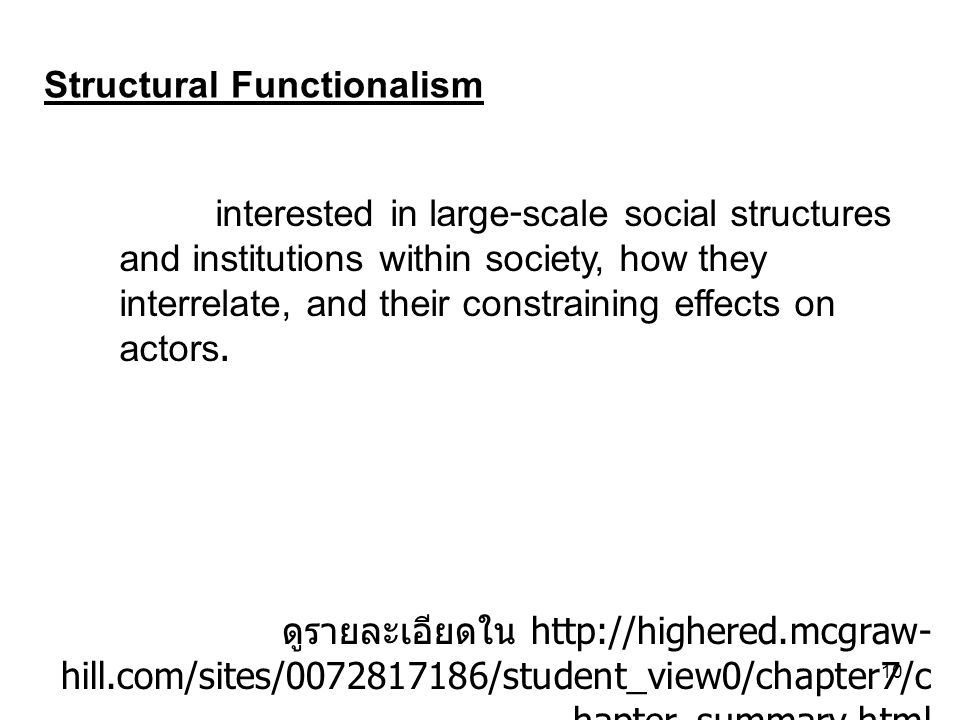 10 Structural Functionalism ดูรายละเอียดใน http://highered.mcgraw- hill.com/sites/0072817186/student_view0/chapter7/c hapter_summary.html interested i