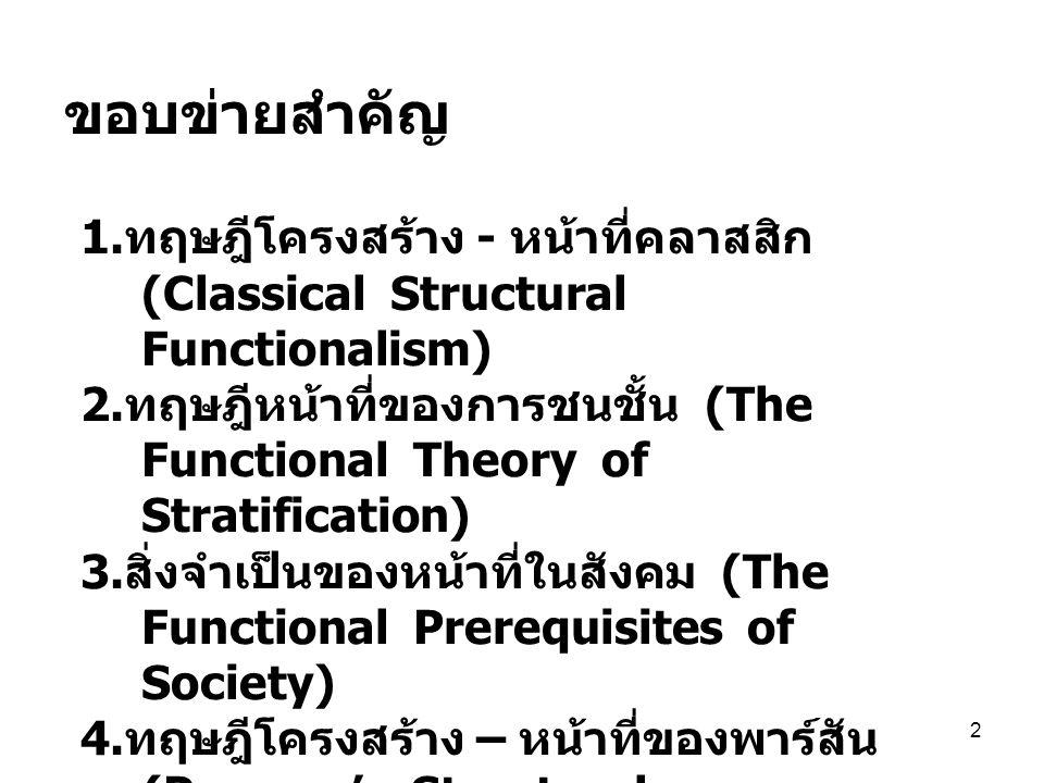 2 ขอบข่ายสำคัญ 1. ทฤษฎีโครงสร้าง - หน้าที่คลาสสิก (Classical Structural Functionalism) 2. ทฤษฎีหน้าที่ของการชนชั้น (The Functional Theory of Stratific