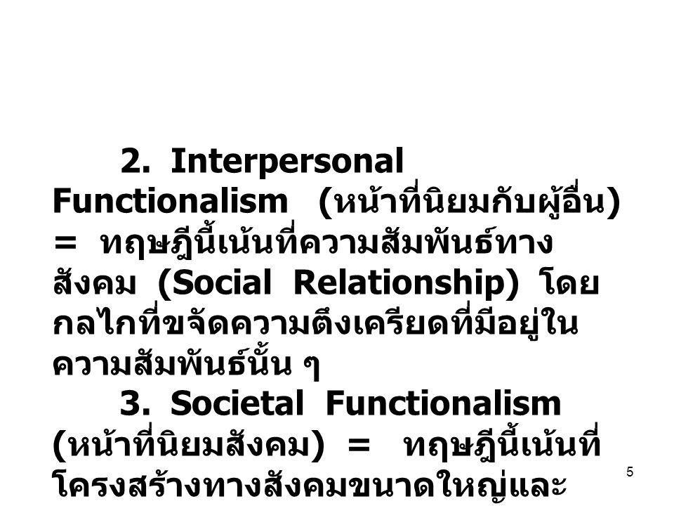 5 2. Interpersonal Functionalism ( หน้าที่นิยมกับผู้อื่น ) = ทฤษฎีนี้เน้นที่ความสัมพันธ์ทาง สังคม (Social Relationship) โดย กลไกที่ขจัดความตึงเครียดที