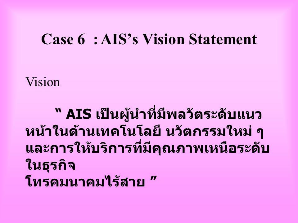 Case 5 : วิสัยทัศน์และพันธกิจของ การไฟฟ้าฝ่ายผลิต Vision : เป็นองค์กรชั้นนำในภูมิภาค อาเซียน Mission : ผลิตและจำหน่ายไฟฟ้าอย่างมี ประสิทธิภาพ และคำนึง