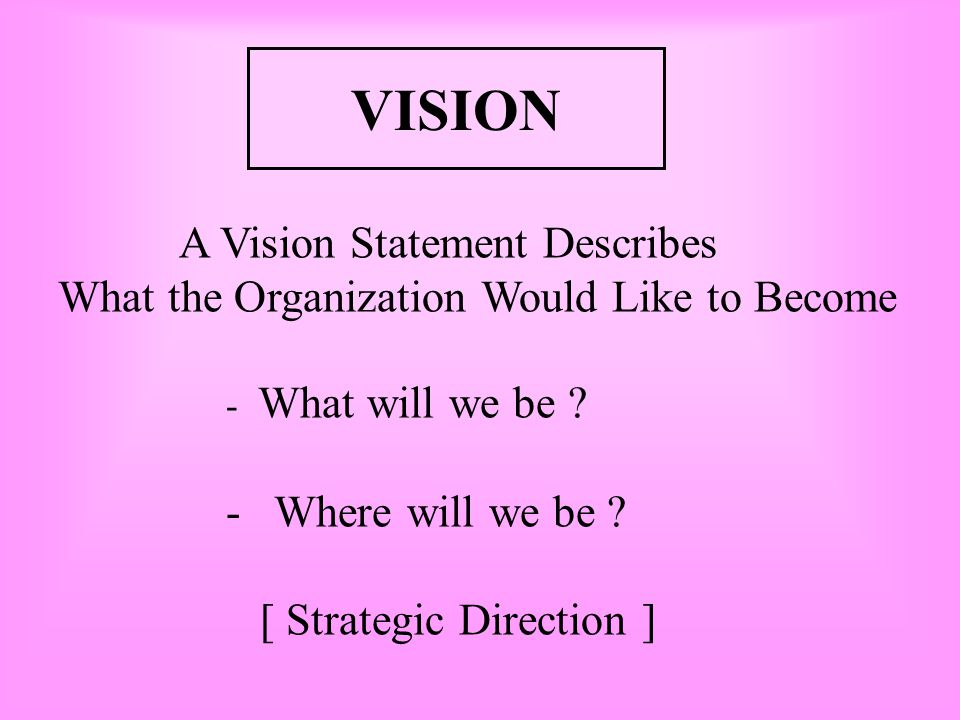 Concept of Vision 1.Strategic Direction 2.Personal View of The future 3.Capacity to foresee the changing situation in the future - Visionary Leadershi