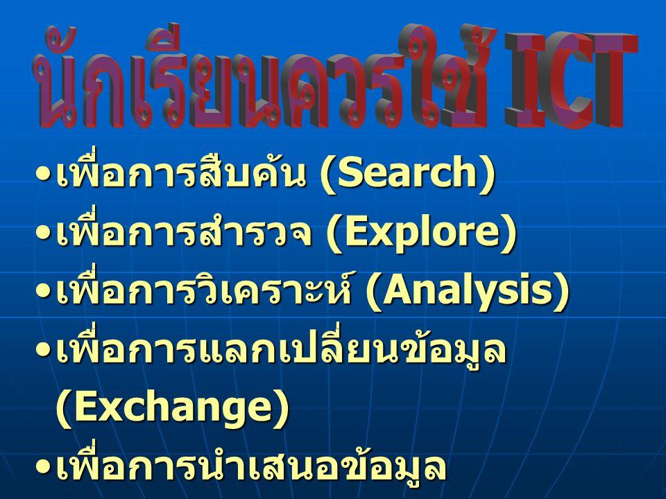 เพื่อการสืบค้น (Search) เพื่อการสืบค้น (Search) เพื่อการสำรวจ (Explore) เพื่อการสำรวจ (Explore) เพื่อการวิเคราะห์ (Analysis) เพื่อการวิเคราะห์ (Analys