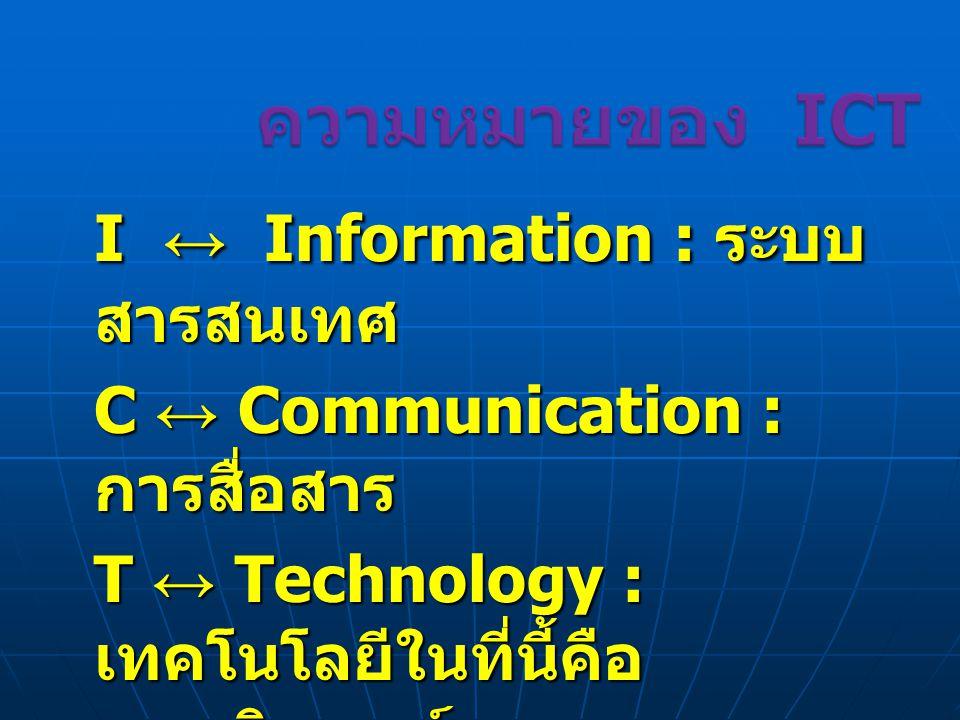 I ↔ Information : ระบบ สารสนเทศ C ↔ Communication : การสื่อสาร T ↔ Technology : เทคโนโลยีในที่นี้คือ คอมพิวเตอร์