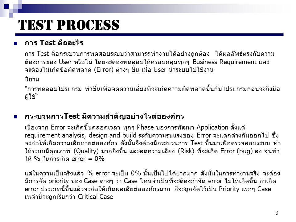 44 Documents (cont) Test Case / Test Script เป็นเอกสารที่จัดทำขึ้นเพื่อไว้สำหรับใช้ในการทดสอบระบบ โดยหลักการทำ Test Case อย่างง่าย ที่สุดนั้น จะต้องอยู่บนพื้นฐานของ Business Requirement และวัตถุประสงค์ของระบบ ในเอกสารจะ ระบุถึง Step / procedure รวมถึงวิธีการ Set up อย่างละเอียด เพื่อที่ผู้ที่ Run Test ตาม Test Case จะสามารถทำตามได้ง่าย หลักการของการคิด Test Case จะต้องคำนึงถึง  Negative Case / Invalid Case  Positive Case / Valid Case ในส่วนของเอกสาร Test Case จะต้องประกอบไปด้วย  ชื่อ Test Case โดยปกติแล้วจะตั้งชื่อให้สื่อ เช่น การ login เข้าระบบ  คำอธิบาย Case ต่างๆ ว่าต้องการ Test กรณีใดบ้าง  Expected Result (ผลลัพธ์ที่คาดหวังว่าจะได้ออกมา ซึ่งจะต้องตรงกับ Requirement)  ข้อมูล Input ที่จะใช้ทดสอบใน Case ต่างๆ  Step ในการทดสอบ  Actual Result (ผลลัพธ์ที่ได้จาก Program)  Test Result เพื่อระบุว่า Test case ข้อนี้ PASS หรือ FAIL