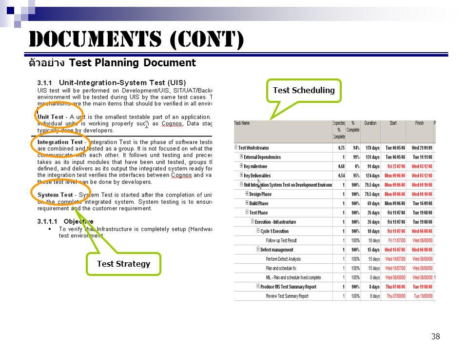 38 Documents (cont) ตัวอย่าง Test Planning Document Test Strategy Test Scheduling