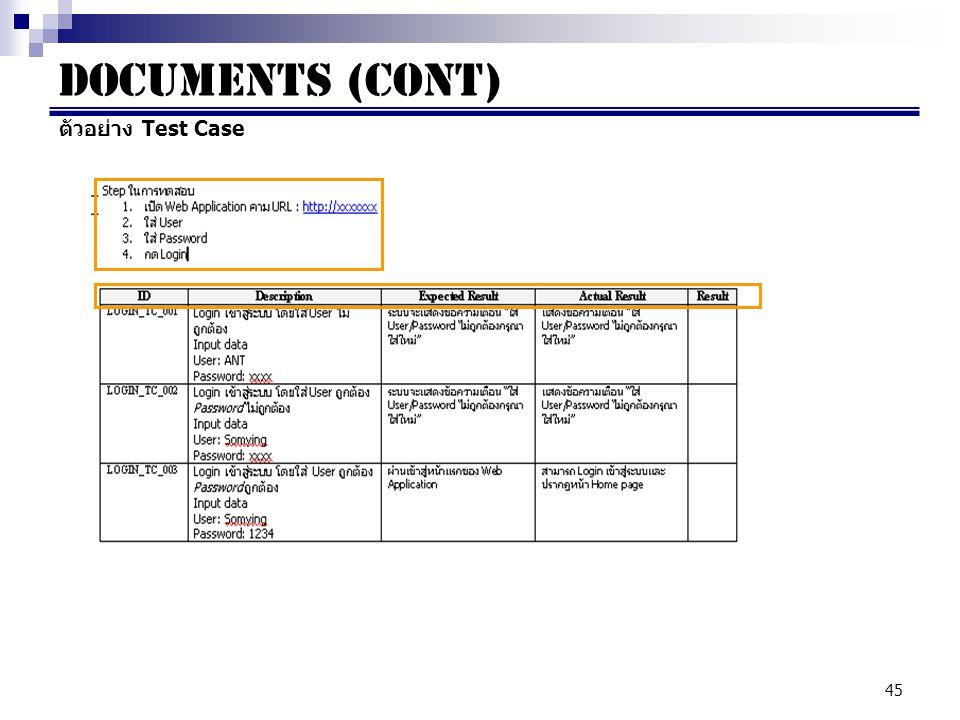 45 Documents (cont) ตัวอย่าง Test Case