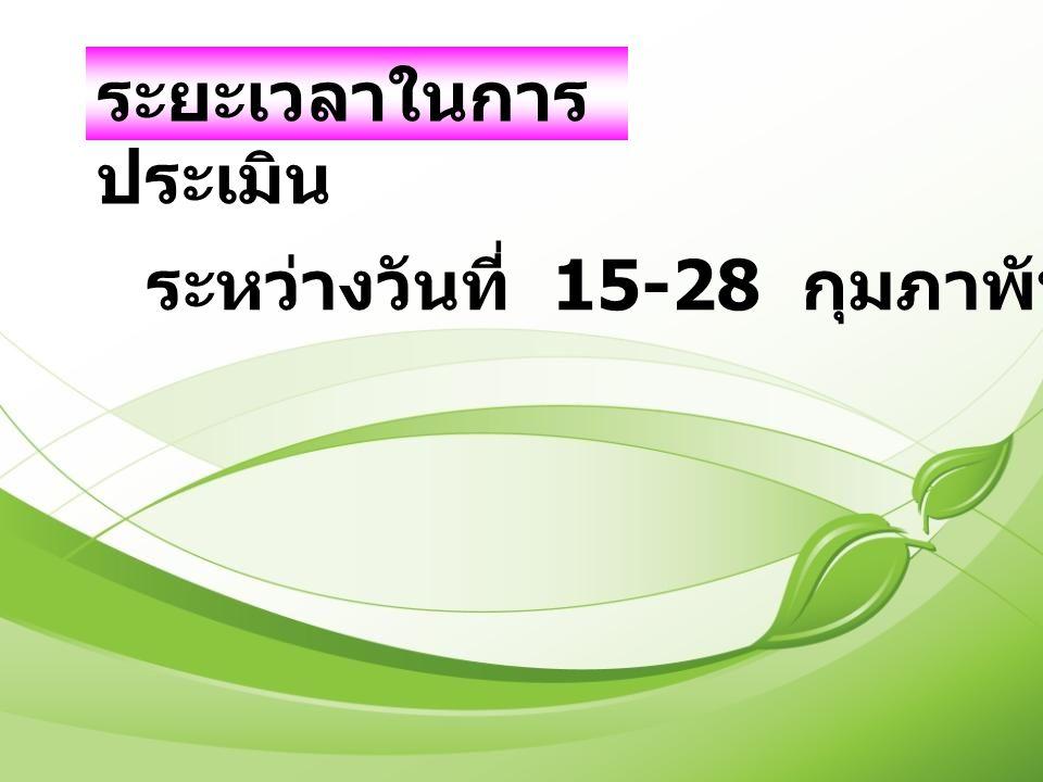 ระยะเวลาในการ ประเมิน ระหว่างวันที่ 15-28 กุมภาพันธ์ 2553