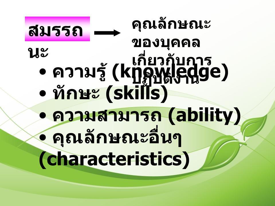 สมรรถ นะ คุณลักษณะ ของบุคคล เกี่ยวกับการ ปฏิบัติงาน ความรู้ (knowledge) ทักษะ (skills) ความสามารถ (ability) คุณลักษณะอื่นๆ (characteristics)