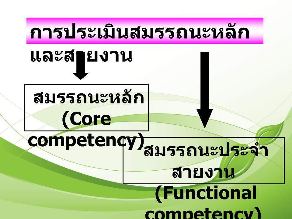 สมรรถนะหลัก (Core competency) สมรรถนะประจำ สายงาน (Functional competency) การประเมินสมรรถนะหลัก และสายงาน