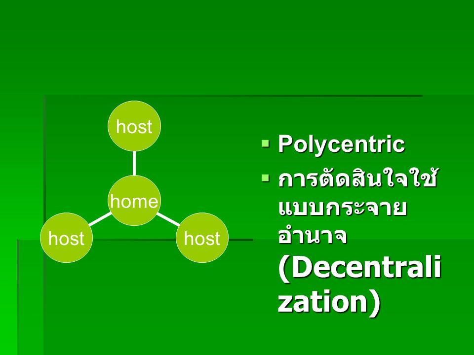  Polycentric  การตัดสินใจใช้ แบบกระจาย อำนาจ (Decentrali zation) home host