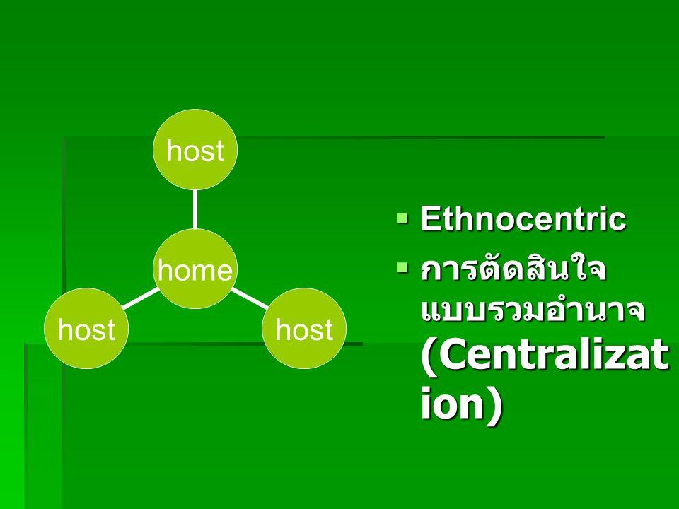  Ethnocentric  การตัดสินใจ แบบรวมอำนาจ (Centralizat ion) home host