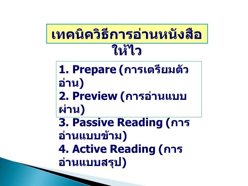 เทคนิควิธีการอ่านหนังสือ ให้ไว 1. Prepare ( การเตรียมตัว อ่าน ) 2. Preview ( การอ่านแบบ ผ่าน ) 3. Passive Reading ( การ อ่านแบบข้าม ) 4. Active Readin