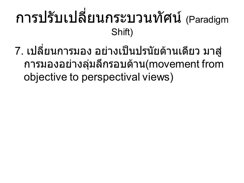 การปรับเปลี่ยนกระบวนทัศน์ (Paradigm Shift) 7. เปลี่ยนการมอง อย่างเป็นปรนัยด้านเดียว มาสู่ การมองอย่างลุ่มลึกรอบด้าน (movement from objective to perspe