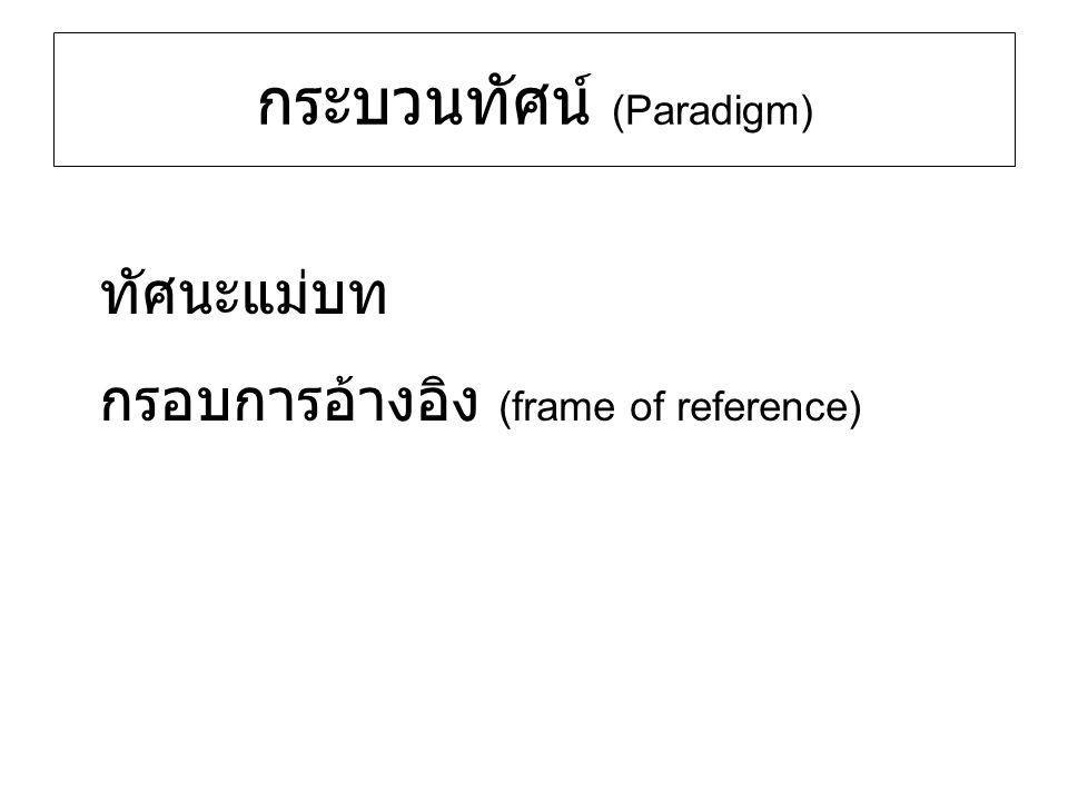 กระบวนทัศน์ (Paradigm) ทัศนะแม่บท กรอบการอ้างอิง (frame of reference)