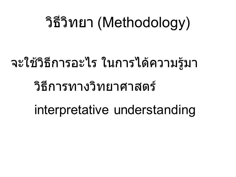 วิธีวิทยา (Methodology) จะใช้วิธีการอะไร ในการได้ความรู้มา วิธีการทางวิทยาศาสตร์ interpretative understanding