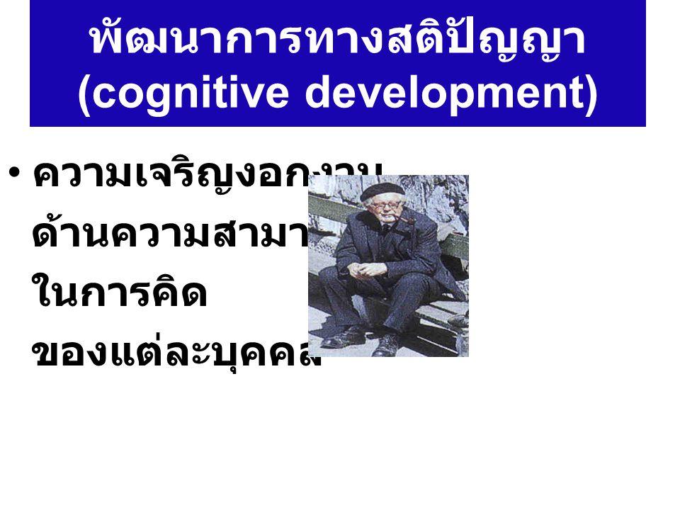 พัฒนาการทางสติปัญญา (cognitive development) ความเจริญงอกงาม ด้านความสามารถ ในการคิด ของแต่ละบุคคล