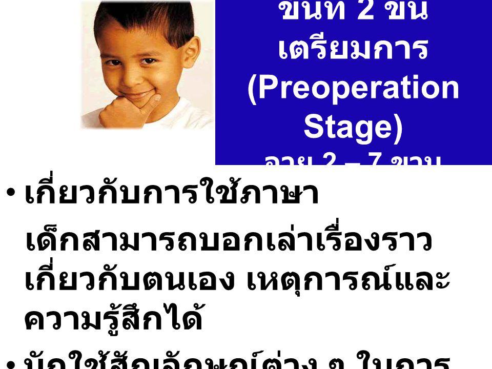 ขั้นที่ 2 ขั้น เตรียมการ (Preoperation Stage) อายุ 2 – 7 ขวบ เกี่ยวกับการใช้ภาษา เด็กสามารถบอกเล่าเรื่องราว เกี่ยวกับตนเอง เหตุการณ์และ ความรู้สึกได้ มักใช้สัญลักษณ์ต่าง ๆ ในการ เล่น
