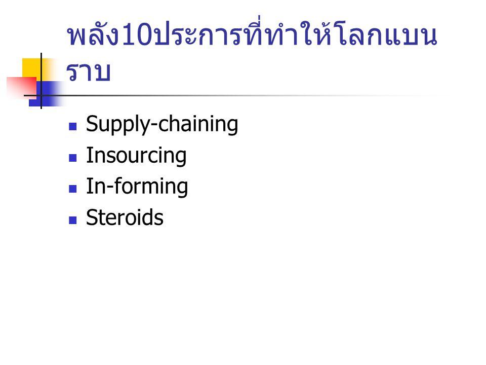 พลัง 10 ประการที่ทำให้โลกแบน ราบ Supply-chaining Insourcing In-forming Steroids