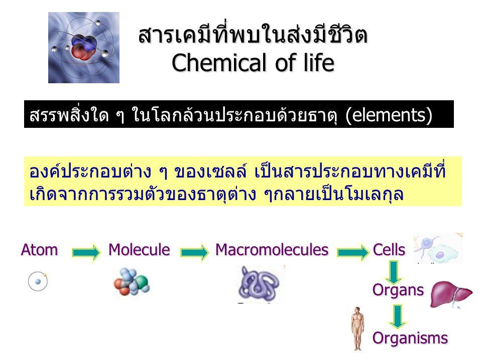 สารเคมีที่พบในส่งมีชีวิต Chemical of life สรรพสิ่งใด ๆ ในโลกล้วนประกอบด้วยธาตุ (elements) องค์ประกอบต่าง ๆ ของเซลล์ เป็นสารประกอบทางเคมีที่ เกิดจากการ