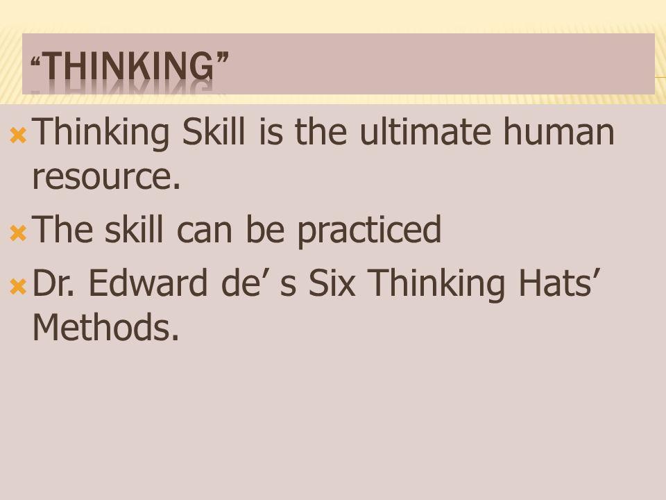  การคิดเป็น ทักษะ พื้นฐานที่สำคัญของมนุษย์  ทักษะ ฝึกฝนได้  เทคนิค การคิดแบบหมวก ๖ ใบ ของ Dr.