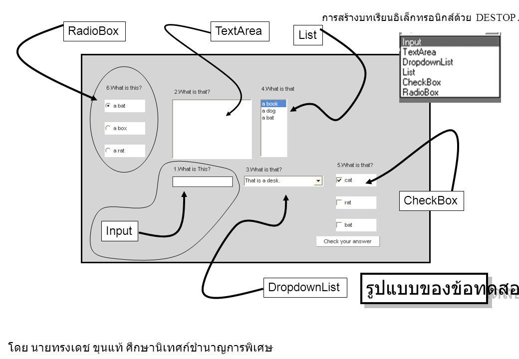 การสร้างบทเรียนอิเล็กทรอนิกส์ด้วย DESTOP AUTHOR 4.5.7 โดย นายทรงเดช ขุนแท้ ศึกษานิเทศก์ชำนาญการพิเศษ DropdownList CheckBox RadioBox Input TextArea List รูปแบบของข้อทดสอบ