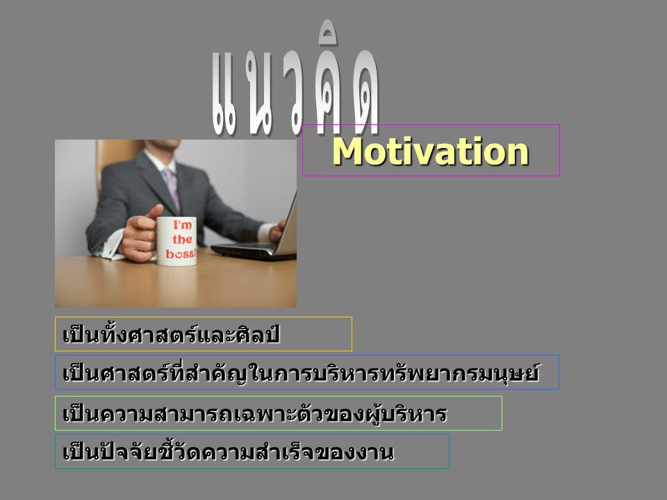 เป็นปัจจัยชี้วัดความสำเร็จของงาน เป็นศาสตร์ที่สำคัญในการบริหารทรัพยากรมนุษย์ เป็นทั้งศาสตร์และศิลป์ เป็นความสามารถเฉพาะตัวของผู้บริหาร Motivation