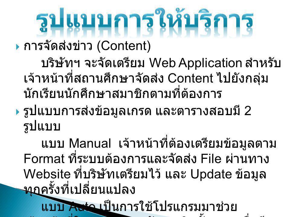  การจัดส่งข่าว (Content) บริษัทฯ จะจัดเตรียม Web Application สำหรับ เจ้าหน้าที่สถานศึกษาจัดส่ง Content ไปยังกลุ่ม นักเรียนนักศึกษาสมาชิกตามที่ต้องการ