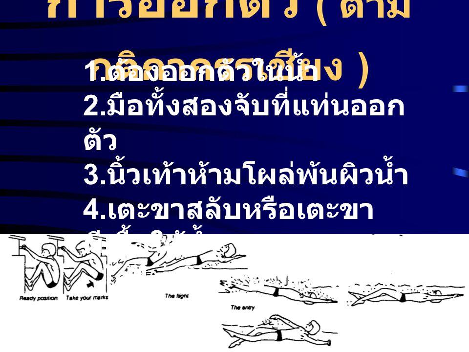 การออกตัว ( ตาม กติกากรรเชียง ) 1. ต้องออกตัวในน้ำ 2. มือทั้งสองจับที่แท่นออก ตัว 3. นิ้วเท้าห้ามโผล่พ้นผิวน้ำ 4. เตะขาสลับหรือเตะขา ผีเสื้อใต้น้ำ ได้